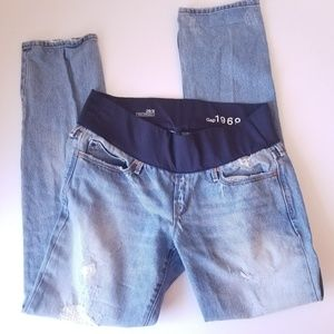 Gap Maternity Distressed Real Straight Jeans 29/8
